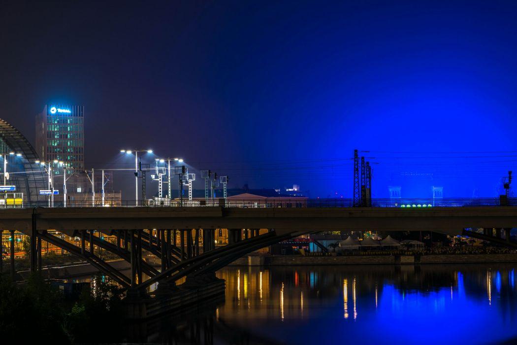 Berlin Germany Rivers Bridges Night Street lights Cities wallpaper