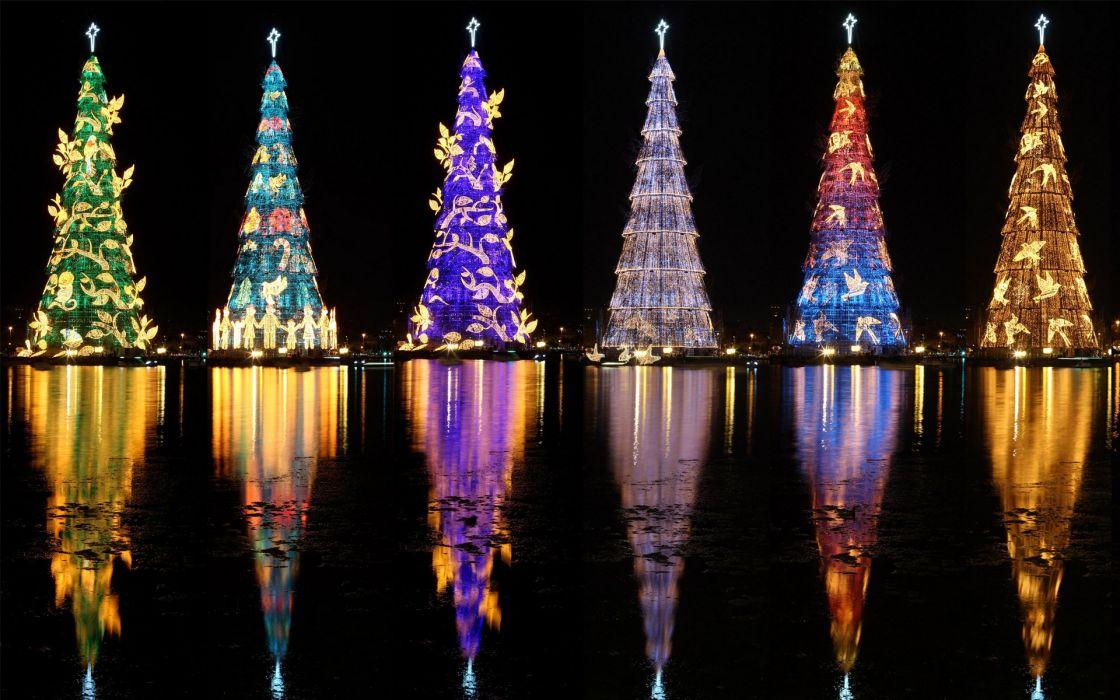 Brazil Rio de Janeiro Christmas tree Fairy lights Night Rodrigo de Freitas Lagoon Cities wallpaper
