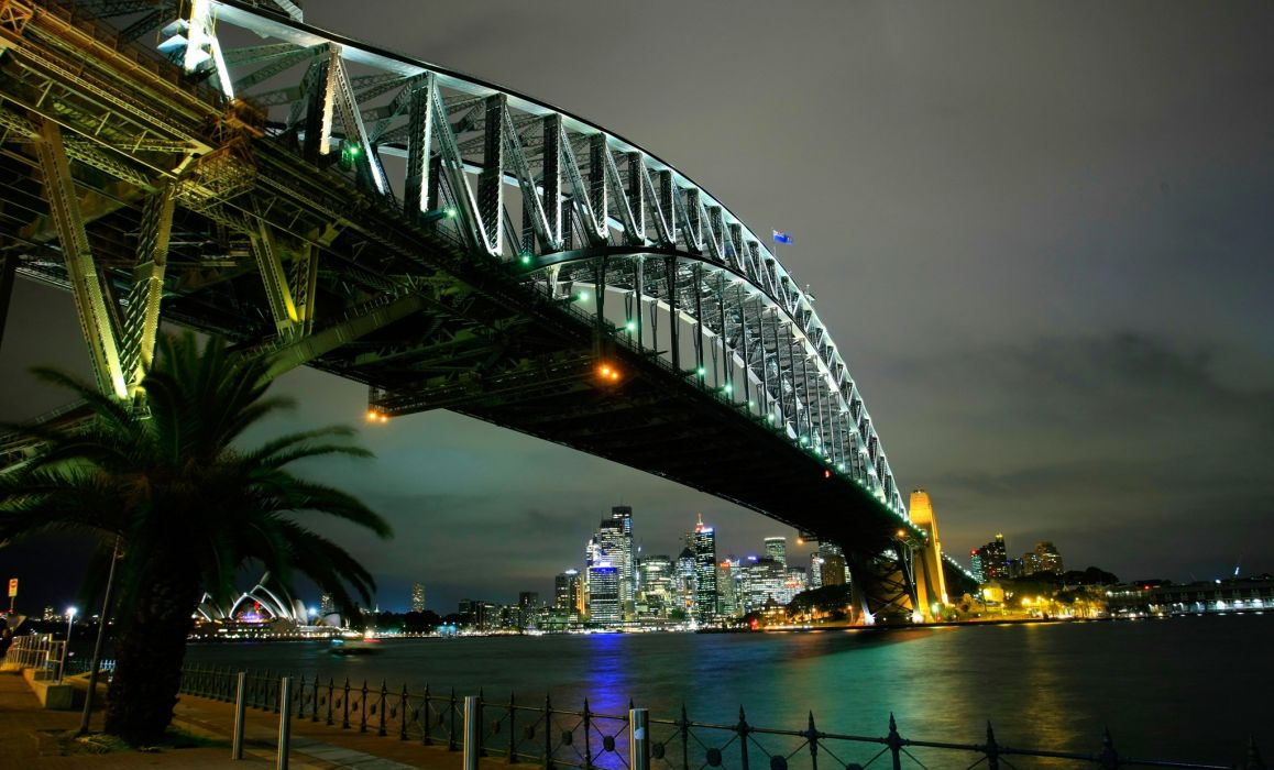 Bridges Australia Night Sydney Cities wallpaper