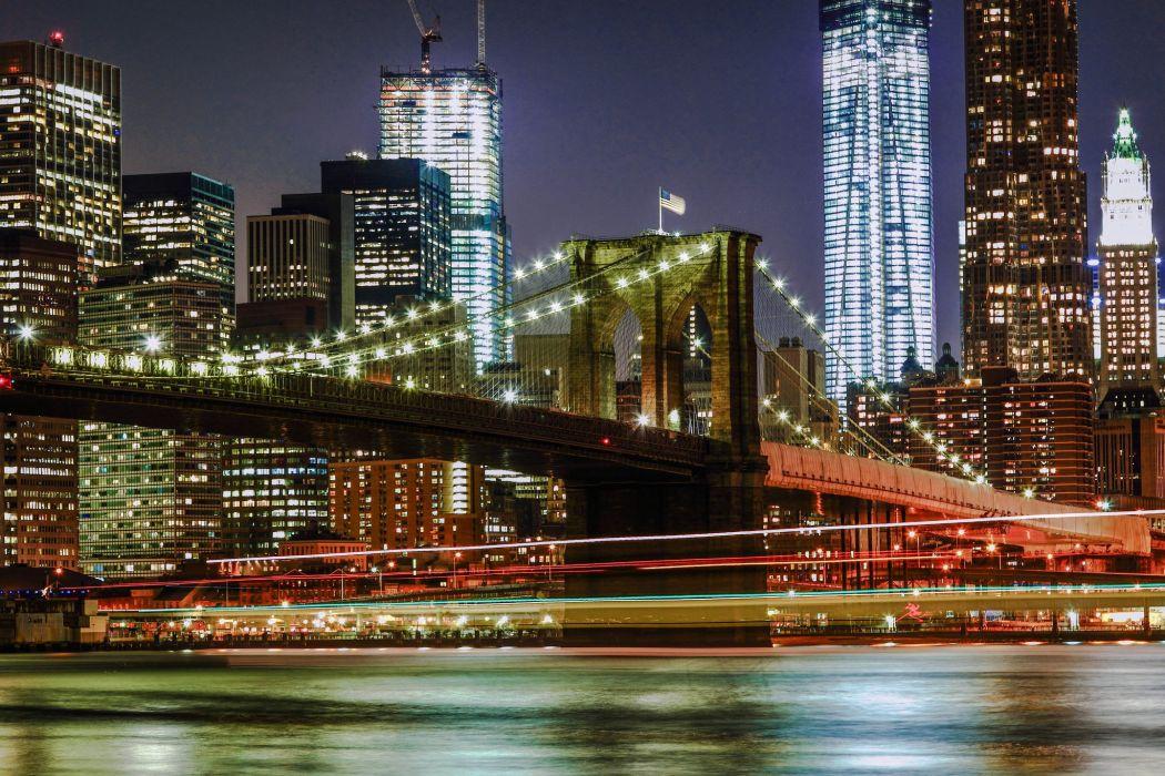 Bridges Houses New York City Night Cities wallpaper