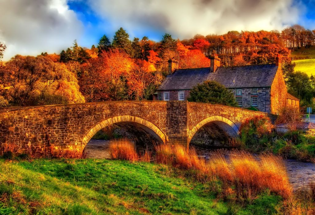 Bridges Houses Rivers Autumn HDR Cities wallpaper