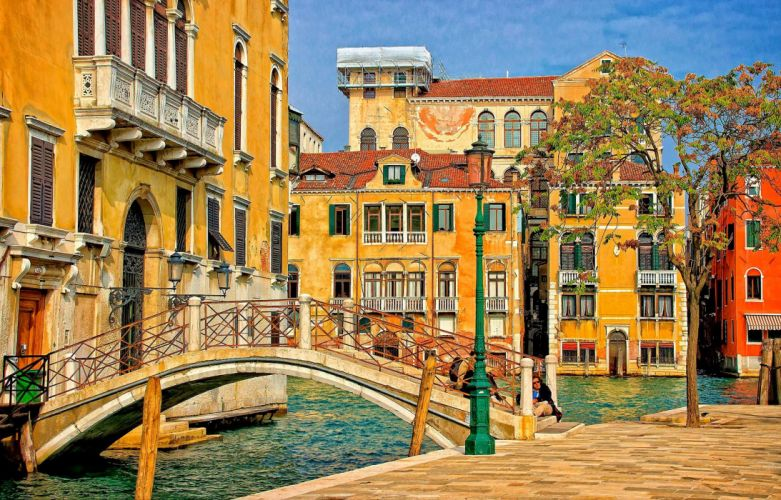 Bridges Houses Italy Street Canal Venice Cities wallpaper