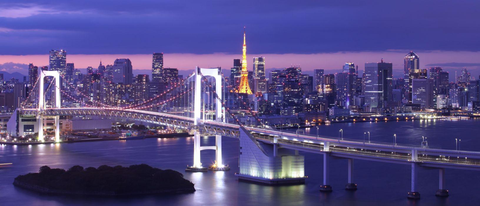 Bridges Japan Tokyo Tokyo Bay Rainbow Bridge Cities wallpaper