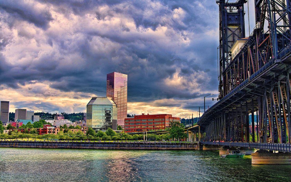 Bridges Houses Rivers Clouds Cities wallpaper