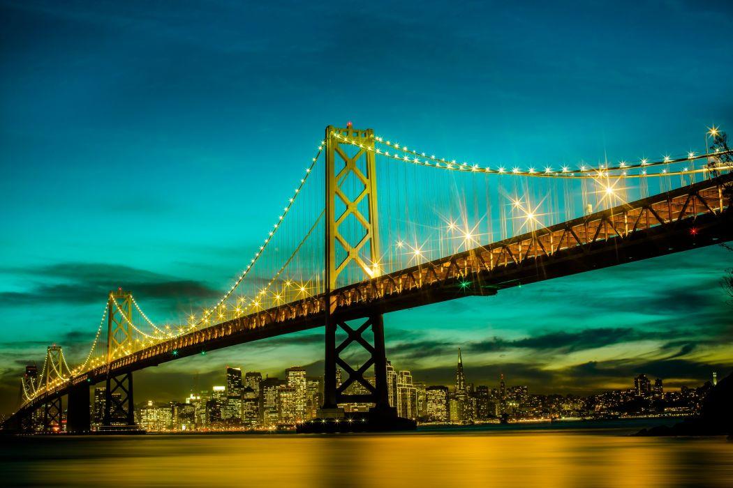 Bridges USA California San Francisco Night Cities wallpaper