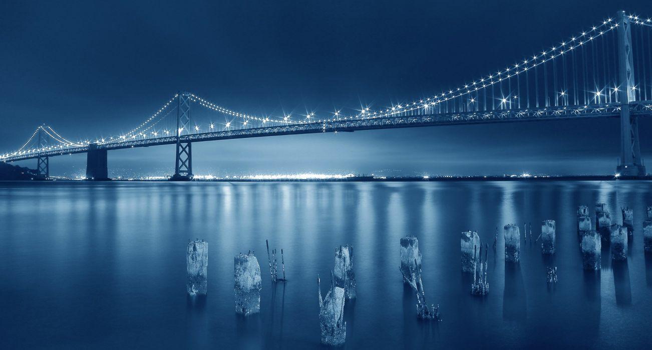 Bridges USA Night San Francisco Cities wallpaper