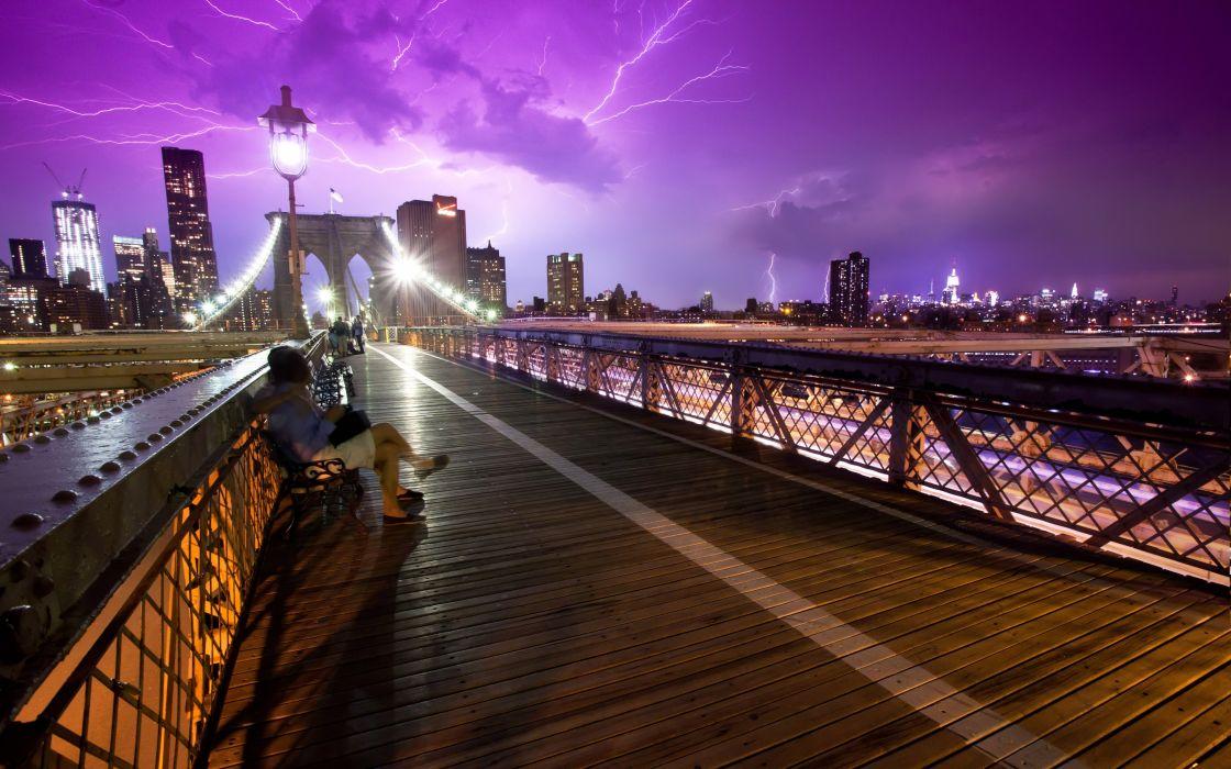 Bridges USA New York City Lightning Cities wallpaper