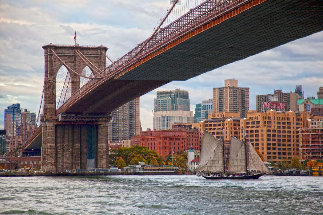 Bridges USA New York City Manhattan Brooklyn Bridge East River Cities wallpaper