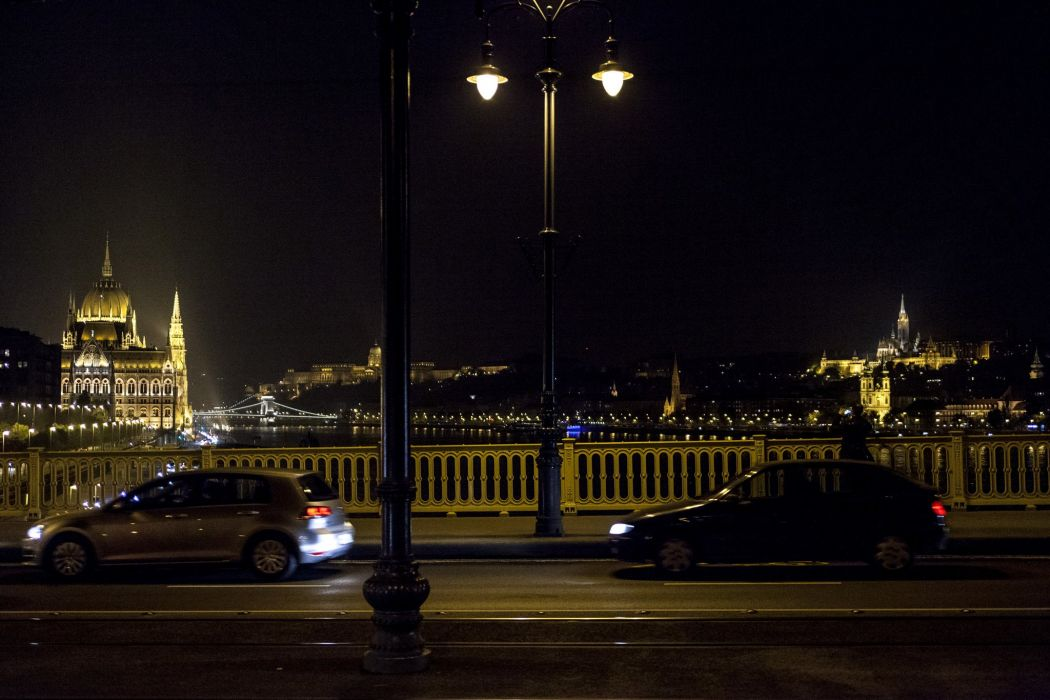Budapest Houses Bridges Hungary Night Street lights Cities wallpaper