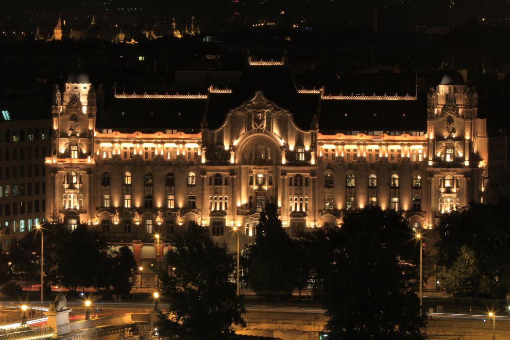 Budapest Hungary Houses Night Street lights Cities wallpaper