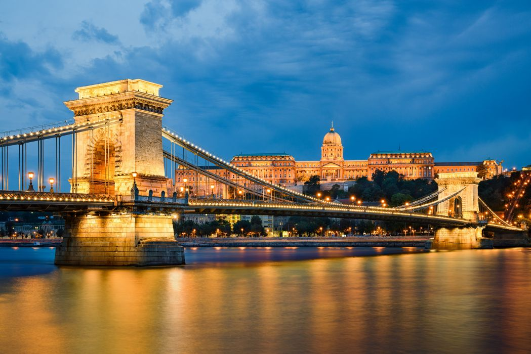 Budapest Hungary Houses Rivers Bridges Night Street lights Cities [ wallpaper