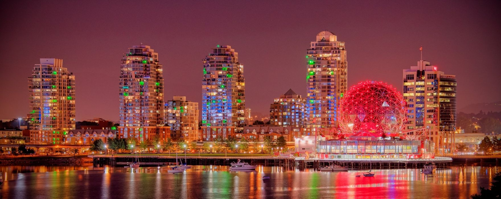 Canada Houses Night Waterfront Vancouver British Columbia Burrard Inlet Cities wallpaper