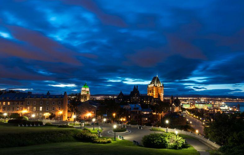 Canada Houses Parks Sky Street Shrubs Night Street lights Quebec Citie wallpaper