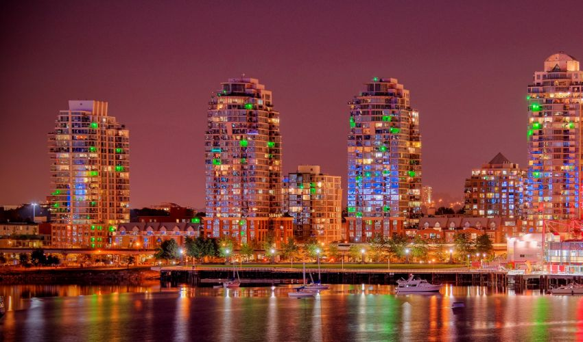 Canada Houses Rivers Marinas Vancouver Street lights Night Cities wallpaper