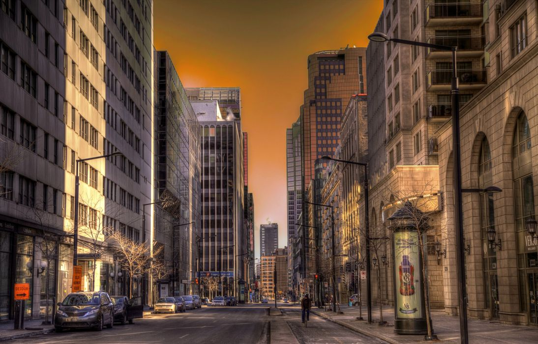 Canada Houses Roads Street Montreal Cities wallpaper