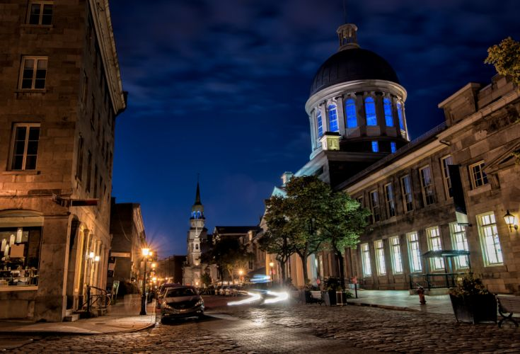 Canada Houses Street Night Street lights Montreal Cities wallpaper