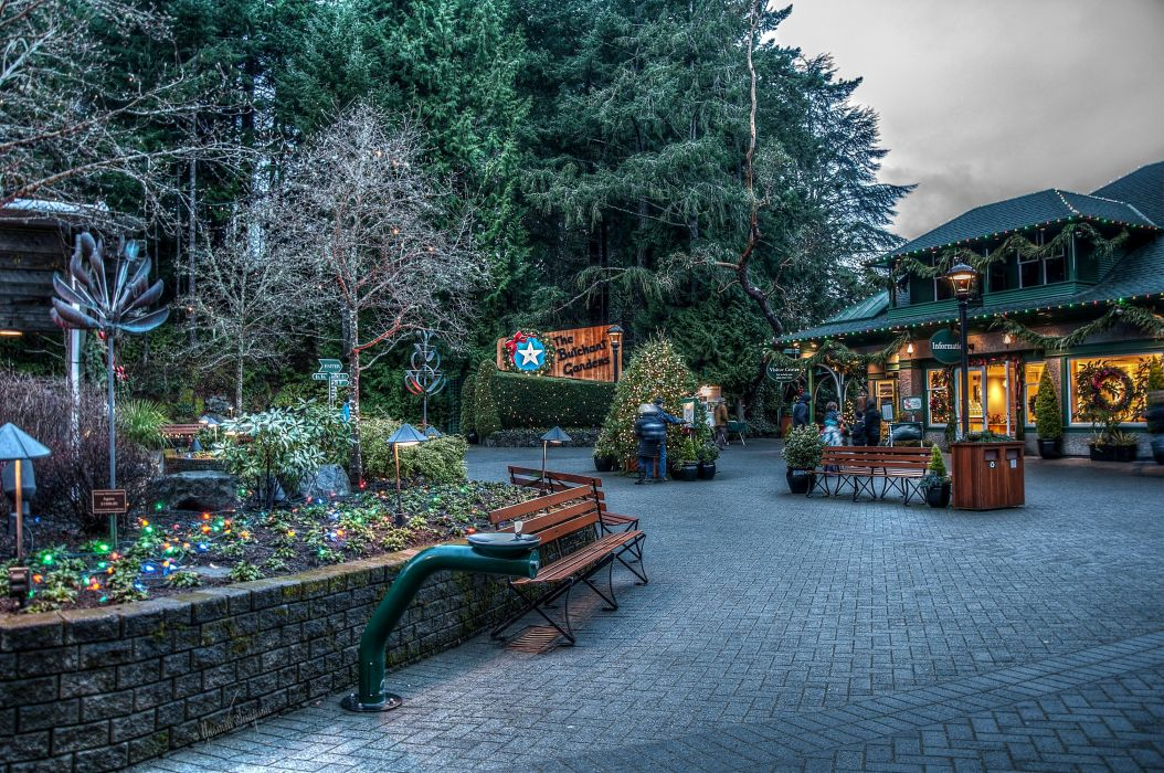 Canada Parks Houses Christmas Bench Fairy lights Butchart Gardens Nature Cities wallpaper