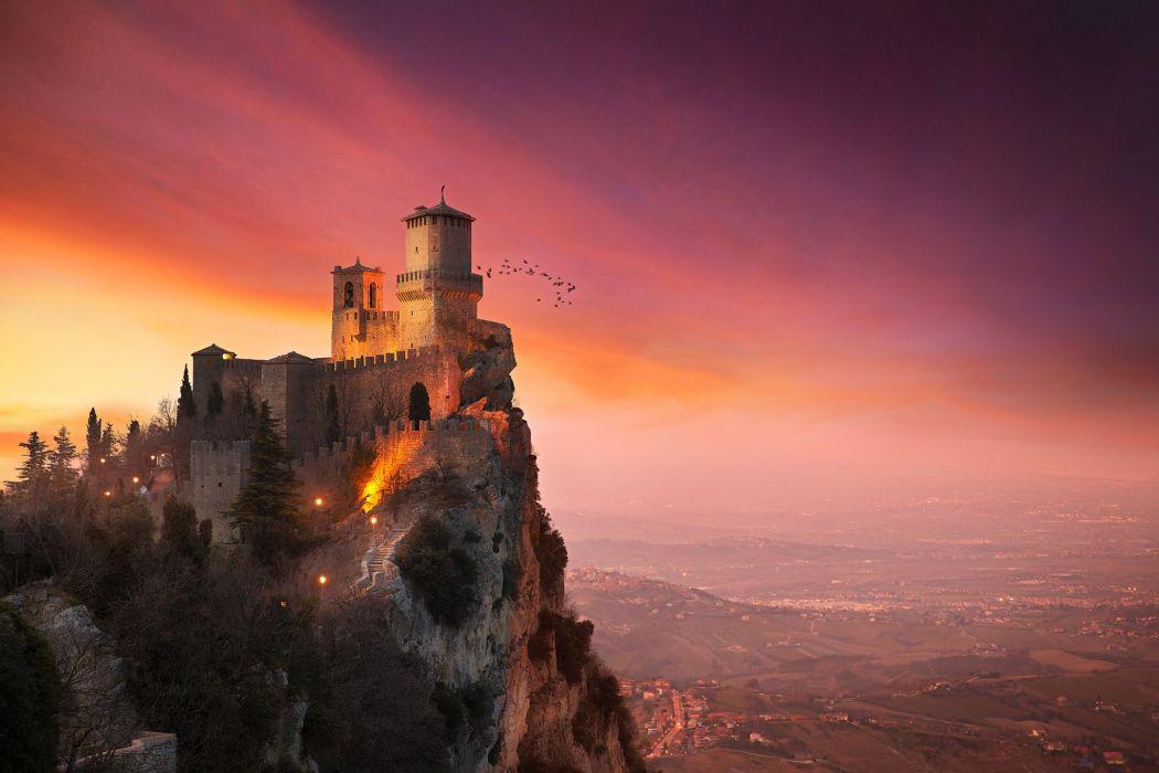 Castle Mountains Monte Titano Guaita Three Towers of San Marino Nature Cities wallpaper