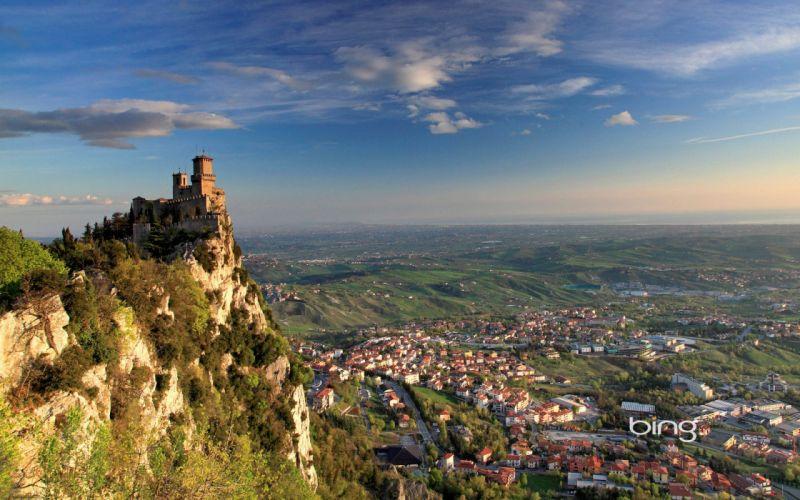 Castles Mountains Sky Crag Guaita tower Monte Titano Borgo Maggiore San Marino Cities wallpaper