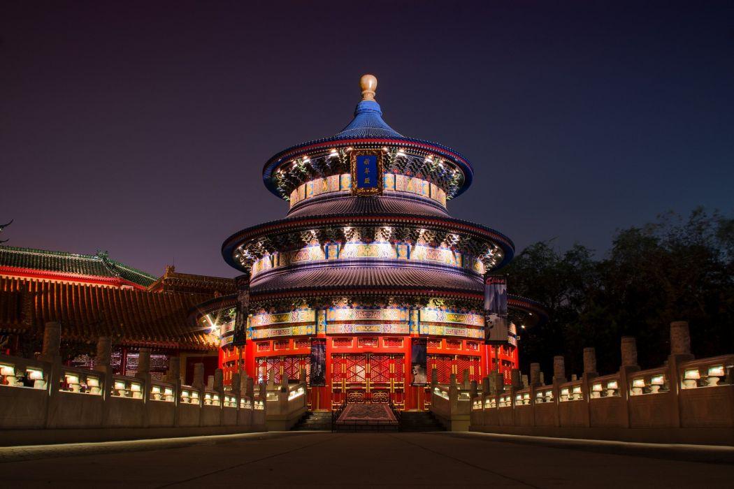 China Houses Night Cities wallpaper