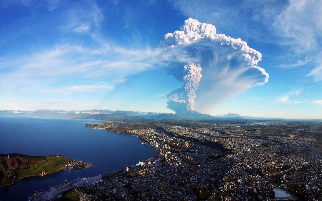 Chile Houses Rivers Sky Coast Volcano Smoke Puerto Montt Calbuco Volcan Cities wallpaper