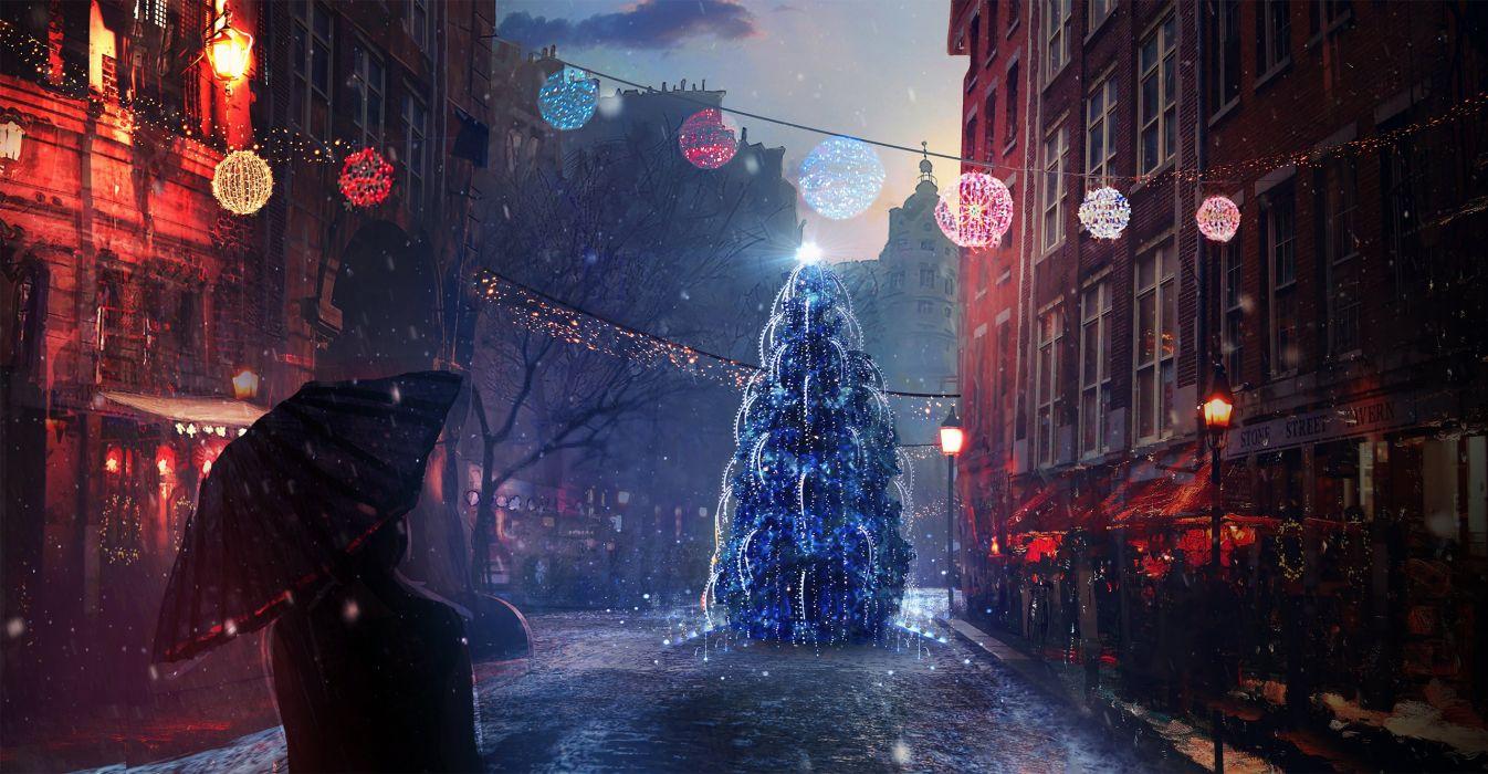 Christmas Holidays Pictorial art Street Christmas tree Umbrella Cities wallpaper