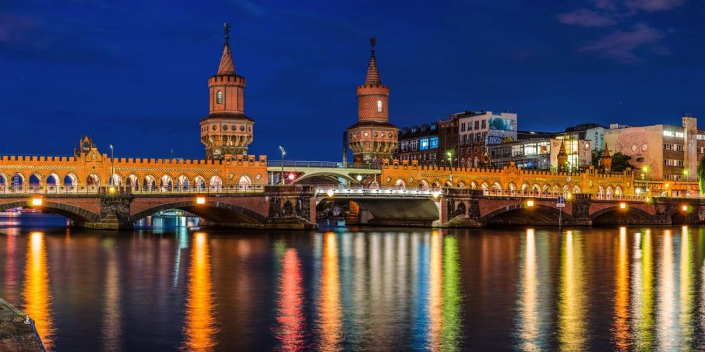 Coast Bridges Rivers Germany Berlin Night Cities wallpaper