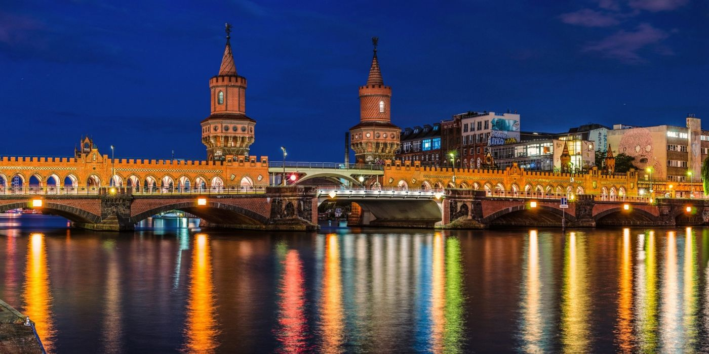 Coast Bridges Rivers Germany Berlin Night Cities wallpaper
