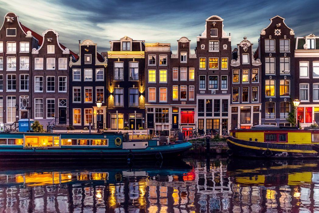 Coast Houses Netherlands Motorboat Amsterdam Cities wallpaper