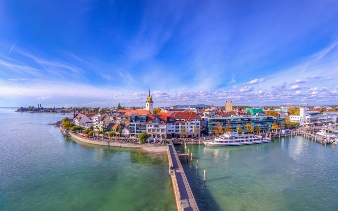 Coast Houses Sky Bridges Marinas Germany Lake Friedrichshafen Baden-Wurttemberg Lake Constance Cities wallpaper