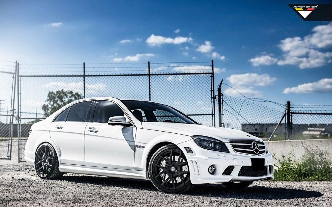 2014 Vorsteiner Mercedes Benz C63 AMG cars white wallpaper