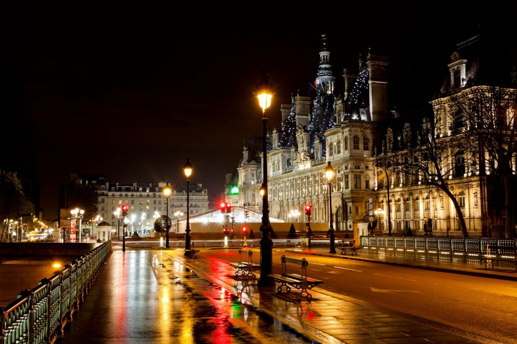 Architecture France City Lights Romance Rainy Rain wallpaper