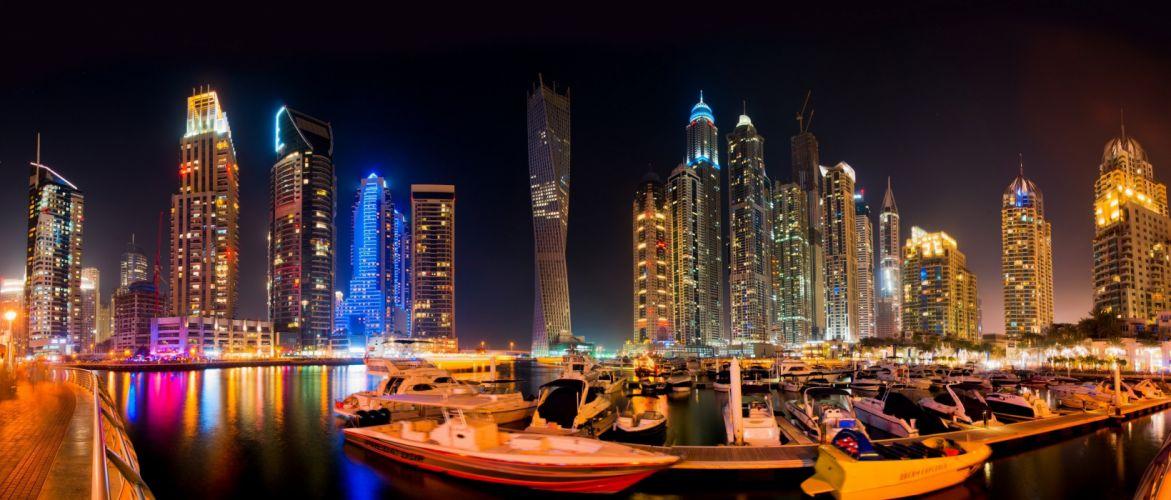 Dubai Skyscrapers Emirates UAE Boats Night Cities wallpaper