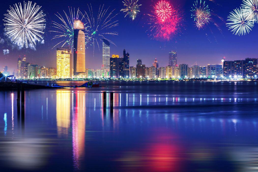 Emirates UAE Dubai Houses Fireworks Holidays Christmas Night Cities wallpaper