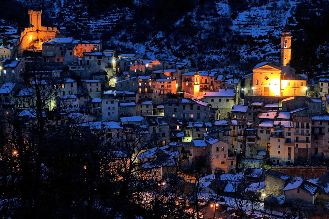 France Houses Night Luceram Cities wallpaper