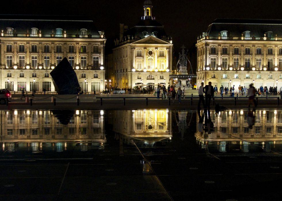 France Houses People Street Night Street lights Place de la Bourse Bordeaux Cities wallpaper