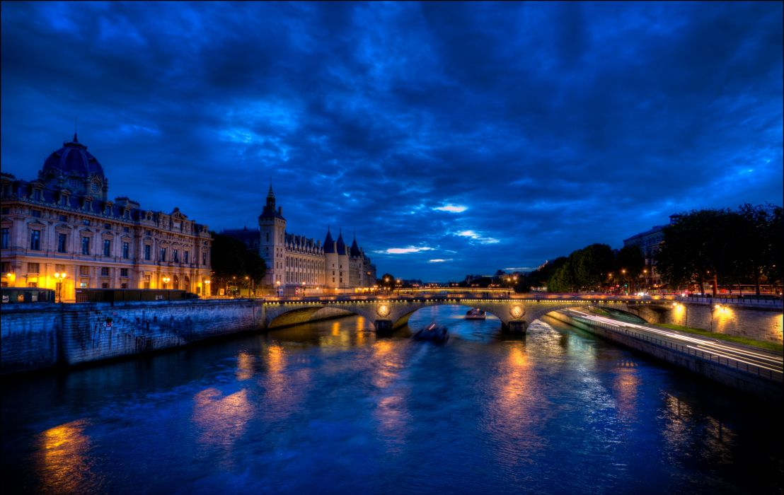 France Houses Rivers Bridges Sky Paris Night Street lights Canal Cities wallpaper