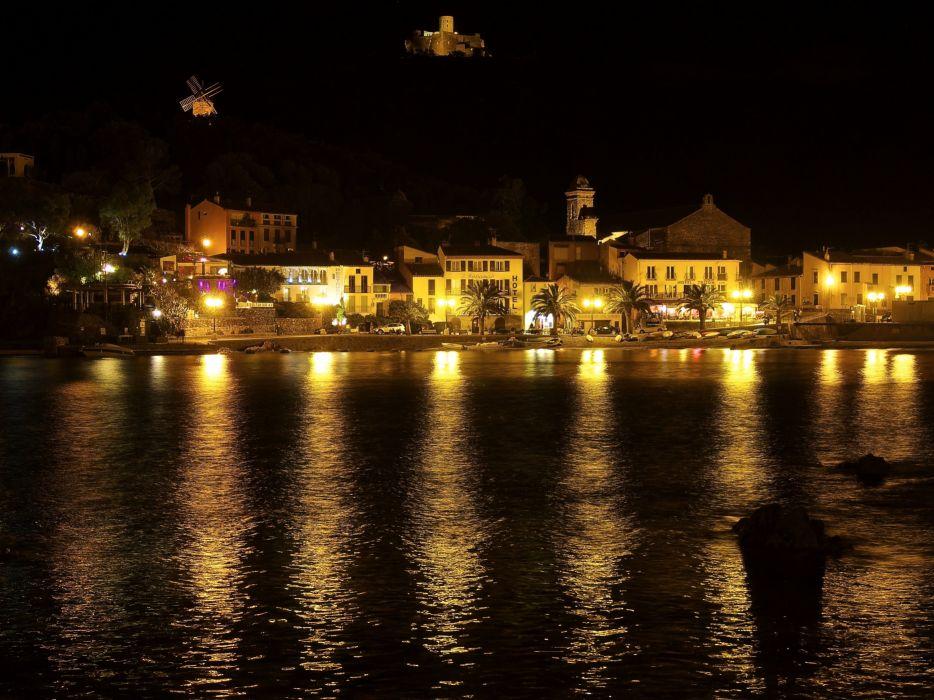 France Houses Rivers Coast Night Street lights Collioure Cities wallpaper