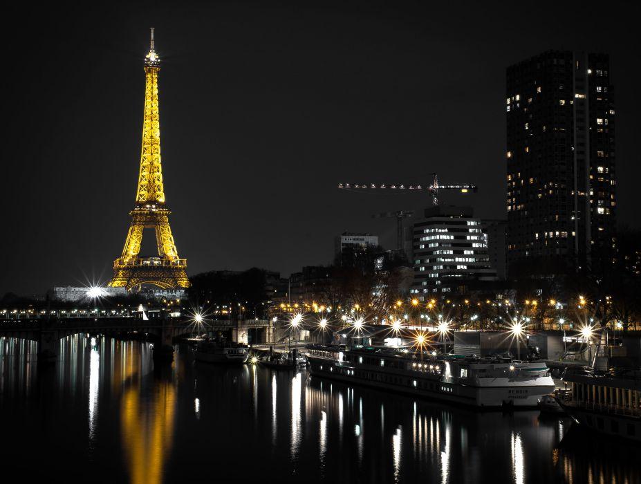 France Houses Rivers Marinas Paris Eiffel Tower Night Street lights Cities wallpaper