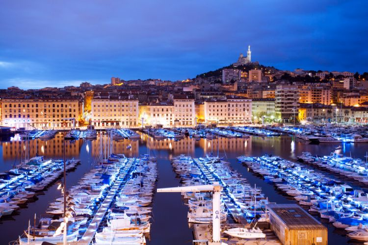 France Houses Rivers Marinas Yacht Sailing Boats Motorboat Night Marseille Cities wallpaper
