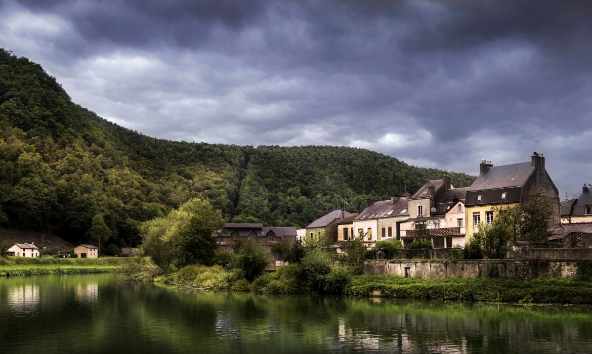 France Houses Rivers Forests Revin Cities wallpaper