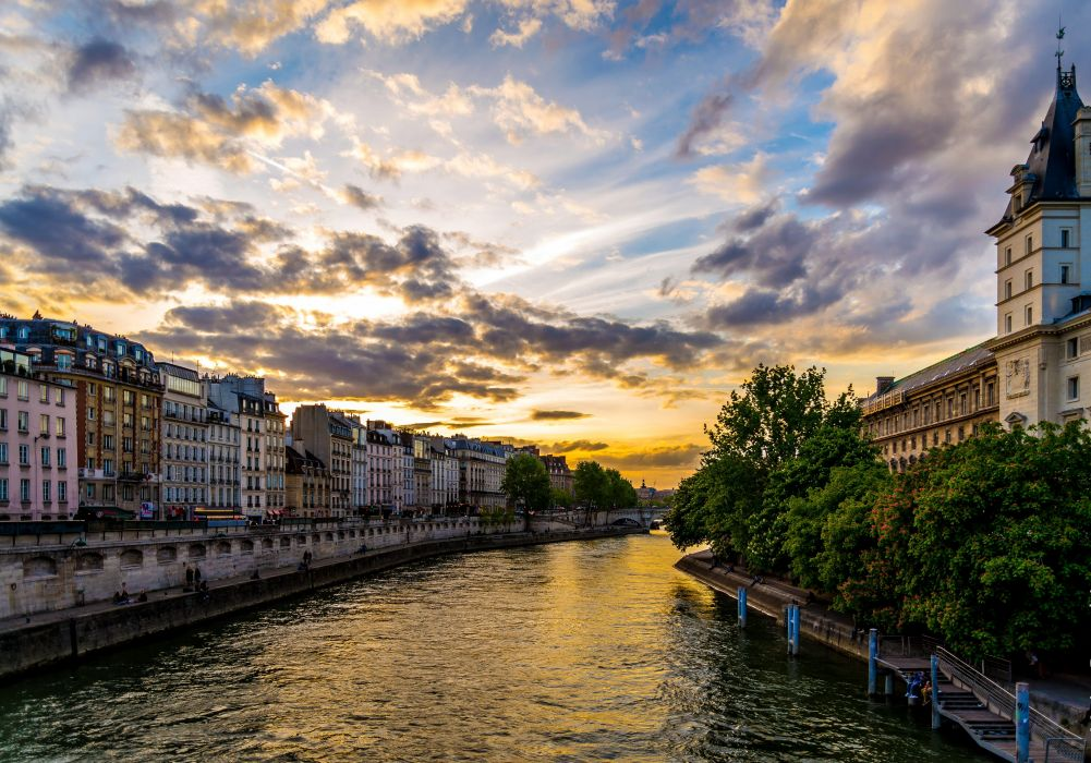 France Houses Rivers Sunrises and sunsets Sky HDR Paris Clouds Canal Cities wallpaper