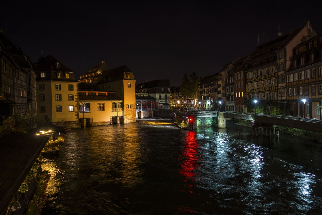 France Houses Rivers Night Street lights Strasbourg Cities wallpaper