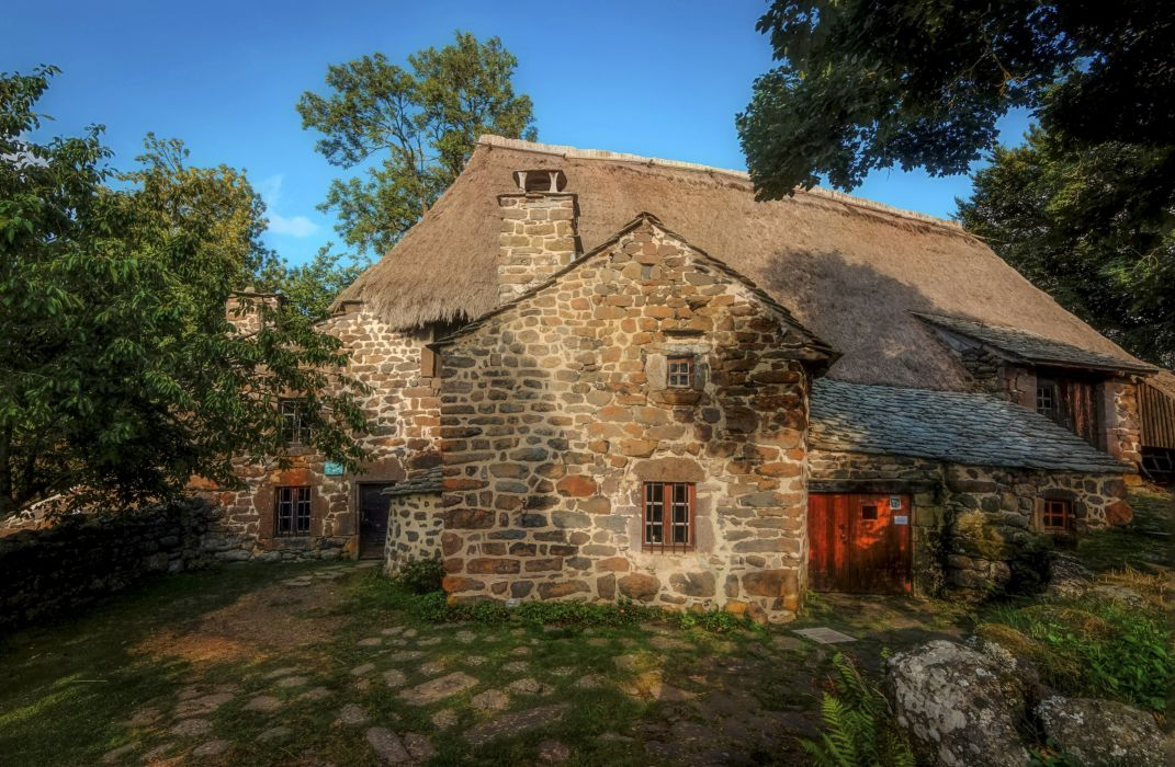 France Houses Stones Moudeyres Auvergne Cities wallpaper