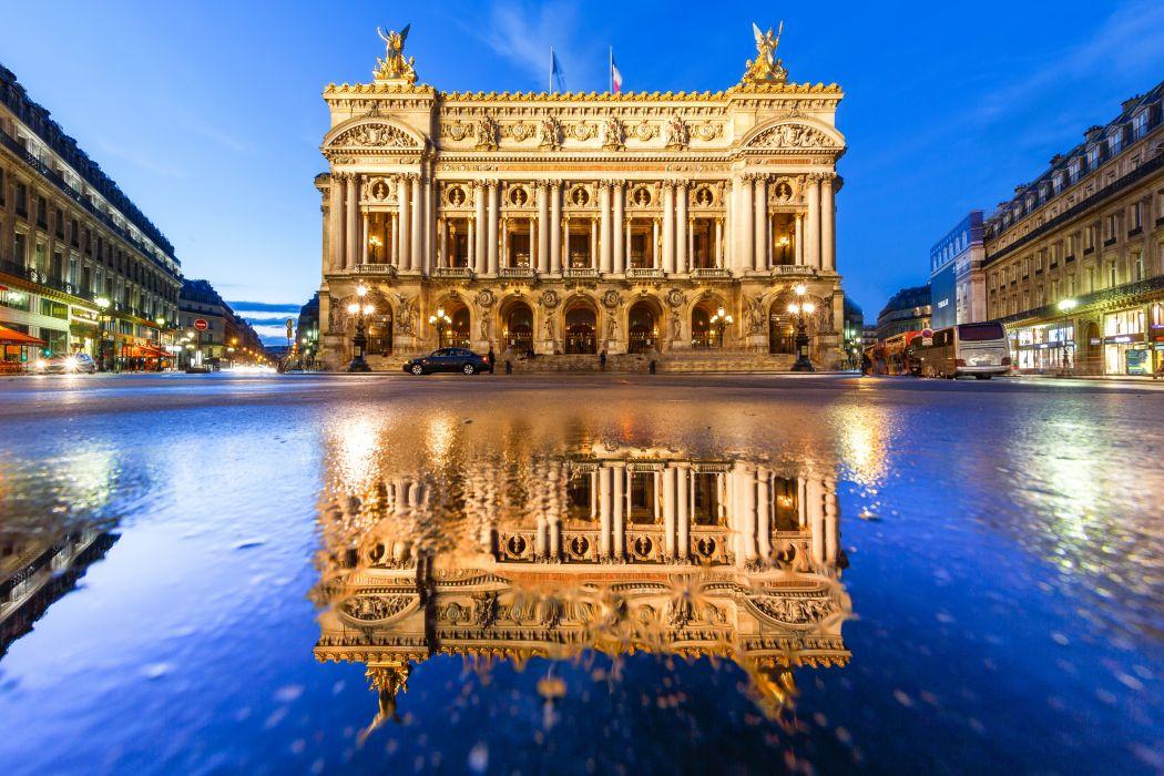 France Houses Roads Street Night Asphalt Opera Garnier Cities wallpaper