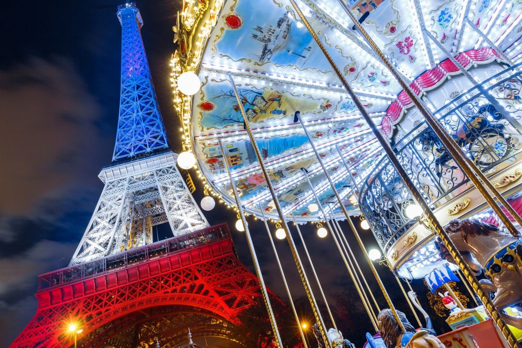 France Paris Eiffel Tower Night Carousel Cities wallpaper
