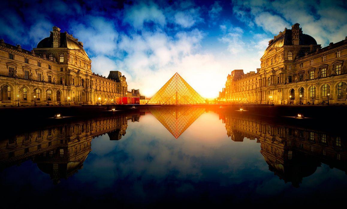 France Paris Pyramid Cities wallpaper