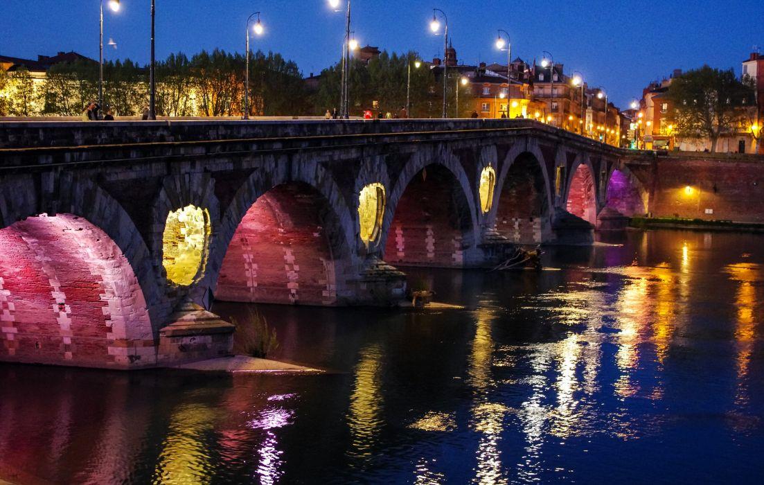 France Rivers Bridges Street lights Night Toulouse Cities wallpaper