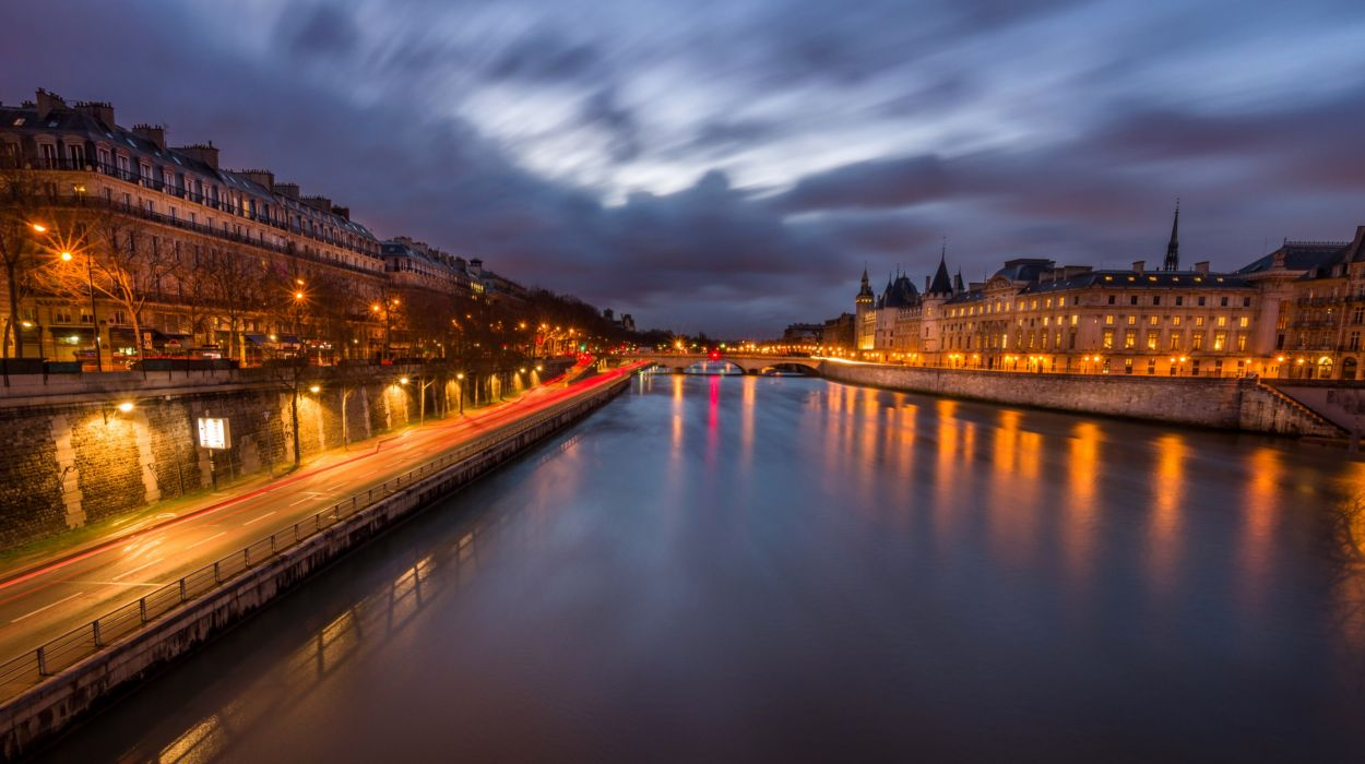 France Rivers Paris Canal Night Cities wallpaper
