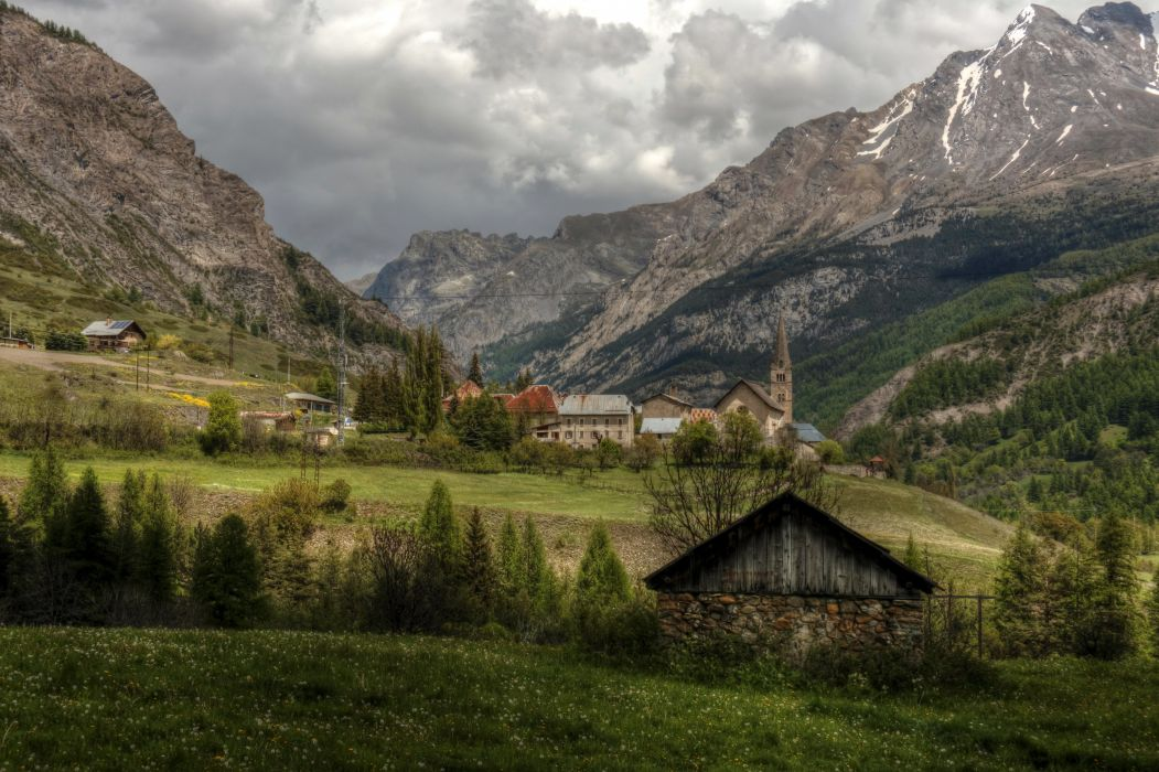 France Scenery Mountains Houses Grasslands HDR Saint Paul sur Ubaye Nature Cities wallpaper